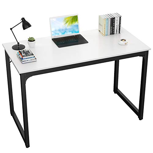 Foxemart Computer Desks Modern Sturdy Office Desk PC Laptop Notebook Study Writing Table for Home Office Workstations, White
