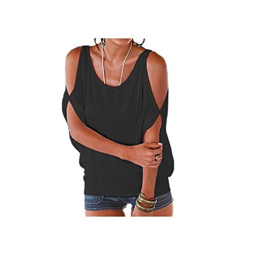 Schlanke Ärmel kalte Schulter Tops Shirt Frauen Casual Sommer T-Shirt Mädchen Loose Top...