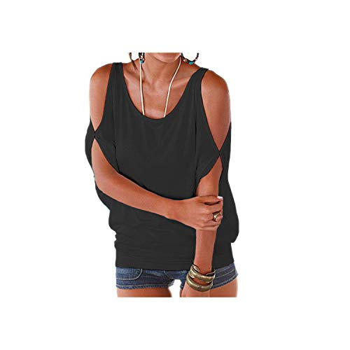 Kaltschulter Tops Shirt mit Schlitzärmeln Frauen Lässig Sommer T-Shirt Mädchen Loose Top T-Shirt-Schwarz-M