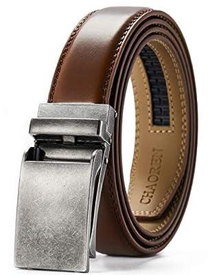 "Men's Leather Ratchet Dress Belt 1 1/8"" with Slide Click Buckle, CHAOREN Adjustable Belt Trim to Fit"