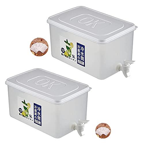 Hervidor De Agua Fría Con Grifo En El Refrigerador, Dispensador De Agua De Cubo De Plástico, Recipiente Para Bebidas Con Grifo, Para Hacer Té Y Exprimir Jugo (Two-piece,5L)