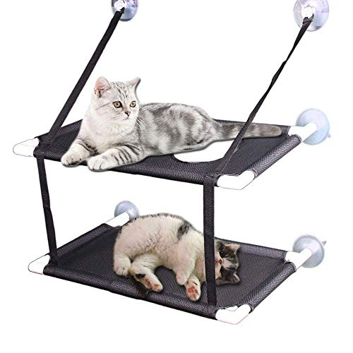 Kitty Sunny Seat,Cat Window Perch Cat Window Bed Hammock Up to 44lb Can Be Installed on Small Window Soft Mats, for Large Cat and Kitten (Double Layers, Black)