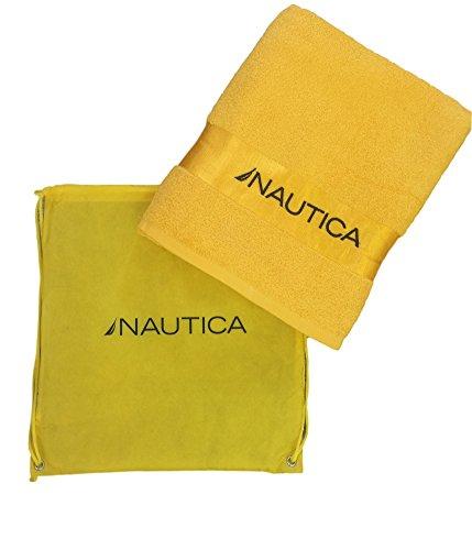 Ducomi Nautica – Toalla de playa 100% algodón – Esponja máxima absorción 150 x 90 cm con bolsa para transporte – Ligera, compacta y de secado rápido – Vacaciones, Mar, Piscina y camping