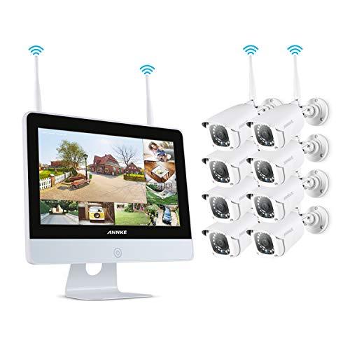 ANNKE 8CH 1080P Drahtloses Videoüberwachungssystem mit 12 Zoll Monitor WiFi NVR/WLAN IP Kamera Überwachungskamera Set 8Pcs 1080P Überwachungskamera Aussen WLAN,30m IR Nachtsicht, Bewegung Alarm durch