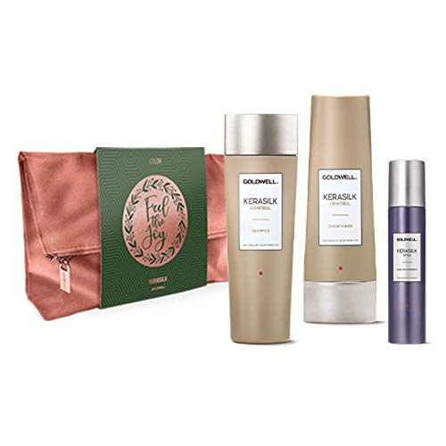 Goldwell Kerasilk Control Xmas Bag Bag Set - Champú de control 250 ml + Control Conditioner 200 ml + Style Fixing Effect Hairspray 75 ml + Bolsa