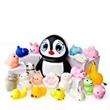 LAEGENDARY Mochi Squishy Toys - Lot de 20 Squishies Et 1 Pingouin Jumbo Squishie Slow Rising - Chat Mochi Squichy, Panda Moelleux, Animaux Mochi - Squishies Jumbo Kawaii - Sangle Porte-Clés Squishys
