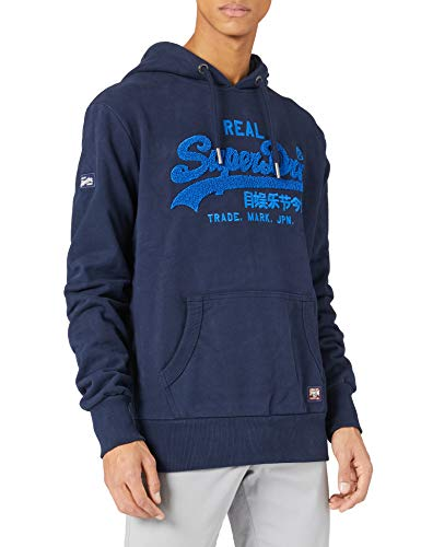 Superdry Mens VL Chenille UB Hood Hooded Sweatshirt, Nautical Navy, L