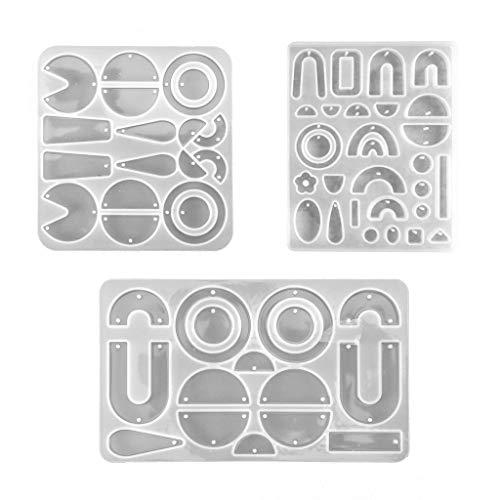 HOTPINK1 Pendientes de resina epoxi de cristal, forma geométrica, pendientes de oreja, pendientes colgantes con forma de silicona