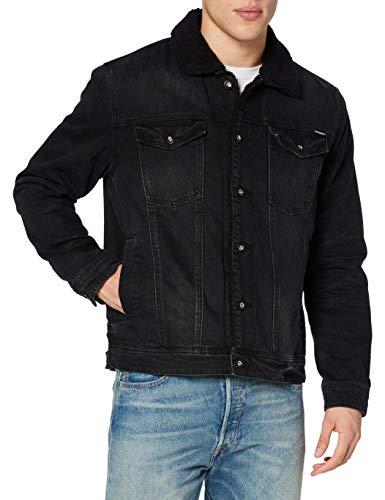 Superdry Mens Highwayman Sherpa Trucker Denim Jacket, Bode Worn Black, S