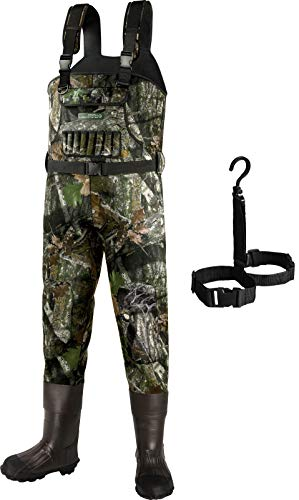 Dark Lightning Neoprene Hunting Waders for Men and Women with Boots, Mens/Womens High Chest Camo Wader (Camo-800G, Men 8 / Women 10)
