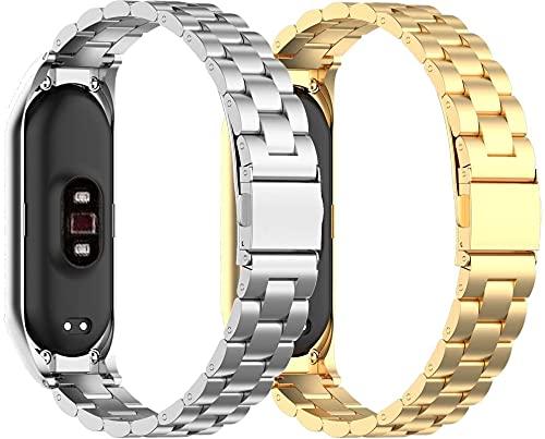 Chainfo Compatible con Xiaomi Mi Band 5 / Xiaomi Mi Band 6 / Amazfit Band 5 Mujer Hombre Correa de Reloj, Correa de Acero Inoxidable sólida Correa de Metal con Cierre rapido (Pattern 3+Pattern 4)