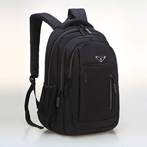 Laptop Bag Backpack Large Capacity Backpack Men Laptop 15.6 Oxford Black Solid High School Bags Teen College Student Back Pack Multifunctional 18Inches Black Free Fast Delivery