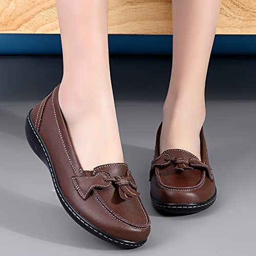 Loafer Flats Shoes for Women,Black Casual Slip-on Boat Shoes Comfort Flat Driving Walking Dressing and House Confortable Moccasins Soft Sole Leather Shoes (Brown, Numeric_7)