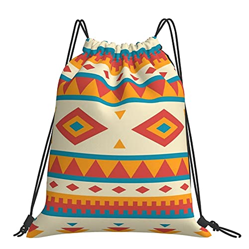Drawstring Backpack Native American Pattern String Storage Bags Sports Yoga Gym Travel Swimming Sackpack For Men Women Girls