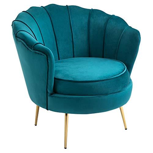 HOMCOM Fauteuil Coquillage Fauteuil Design dim. 79L x 77l x 77H cm Pieds dorés effilés Velours Bleu Canard