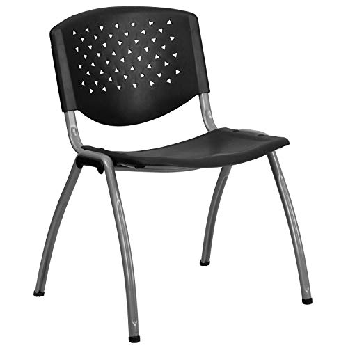 Flash Furniture HERCULES Series 880 lb. Capacity Black Plastic Stack Chair with Titanium Gray Powder Coated Frame