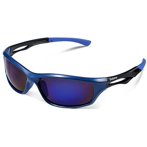 Duduma Polarized Sports Sunglasses for Men Women Baseball Running Cycling Fishing Driving Golf Softball Hiking TR90 Unbreakable Frame (blue/blue)