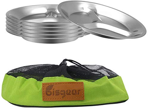 Bisgear 10.25 inch Stainless Steel Round Divided Plates Pack of 6 with Mesh Travel Bag - Lightweight BPA Free Sectioned Plates for Outdoor Camping