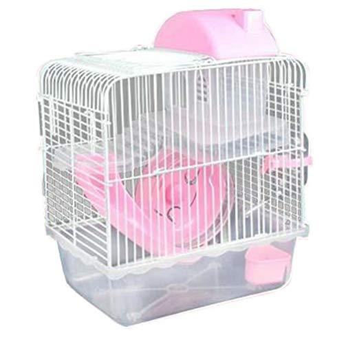 Aiglen Juego de jaula para hámster de 2 niveles,portátil para animales pequeños,hábitat,Chinchilla,jerbo,cueva,conejillo de indias,casa de erizo,jaula para hámster,accesorios (Color : Pink)
