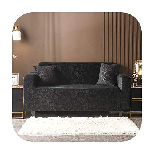 Sofa covers Anti Slip Beige Sofa Cover Stretch Mat Solid Colors Armchair Corner Seat Magic Leather Furniture Meubels Home Textile -Crystal Black-145-185Cm