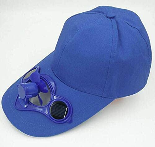 Gorra de verano con ajuste relajado, con ventilador de refrigeración solar, gorra de protección solar para deportes al aire libre Gorra de béisbol unisex (Blue)