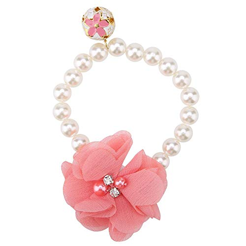 Pet Dog Flower Pearl Necklace,Dog Pet Pearl Flower Collar Elastic Necklace for Puppy Collar Jewelry Accessory(Pink)