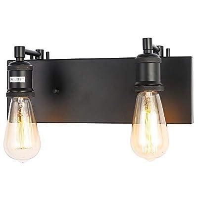 PUUPA 2 Lights Bathroom Vanity Light, Modern Industrial Black Wall Sconce for Bedroom Living Room Hallway Kitchen