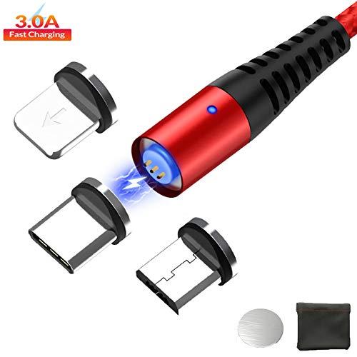 USB Magnético C Lighting Micro USB, QC3.0 Cable de 3 en 1...