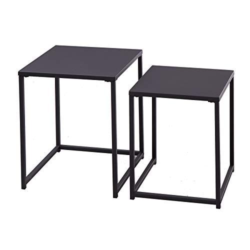 riess-ambiente.de Industrial Beistelltische 2er Set DURA Steel 40cm schwarz Metall Wohnzimmertisch Tischset Satztische Tische