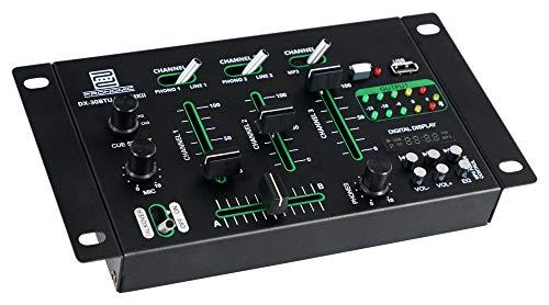 Pronomic DX-30BTU USB MKII - Mesa de mezclas para DJ (Bluetooth, 3 canales, función Cue, USB, MP3 y reproductor Bluetooth, incluye fuente de alimentación.