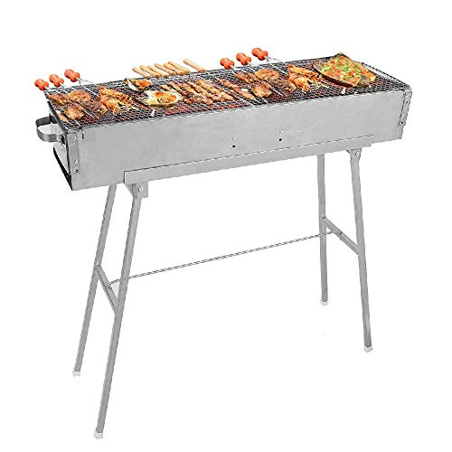 IRONWALLS Stainless Steel Charcoal Shish Kebab Grill BBQ Grill Barbecue Kit for Garden Backyard...
