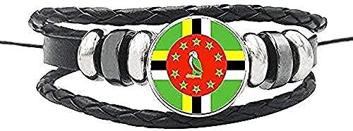 BEISUOSIBYW Co.,Ltd Collar Bahamas Panamá Cuba Haití América Central Bandera Nacional Pulsera Cuerda de Cuero Botones de cúpula de Vidrio Brazalete