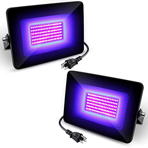 2 Pack UV LED Flood Light, 30W High Power UV Black Lights with UL Plug (3.3ft Cable), IP66 Waterproof, for Blacklight Party Supplies, Stage Lighting, Aquarium, Glow in The Dark