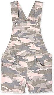 The Children's Place Girls' Camo Denim Printed Short Overalls, Pink Tinge