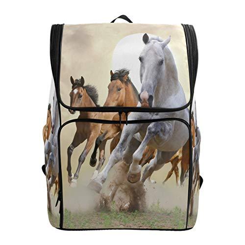 Emoya Schulrucksack für Mädchen Laufen Pferde Sonne Büchertasche Casual Rucksack Teenager Jungen Schultasche
