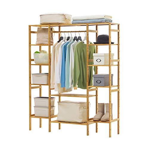Râteliers multi-usages Porte-Manteau Salon Cintre Simple Plancher de Bois Massif Chambre Porte-vêtements Rack de Stockage Casiers (Color : Beige, Size : 132 * 30 * 145cm)