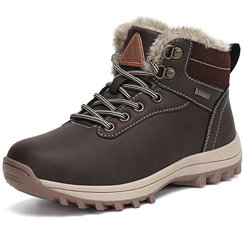 Mishansha Kids Snow Hiking Boots Waterproof Boy's Girl's Winter Boot Slip Resistant Outddor Fur Lined Child Warm Boot Shoes Brown 4 Big Kid