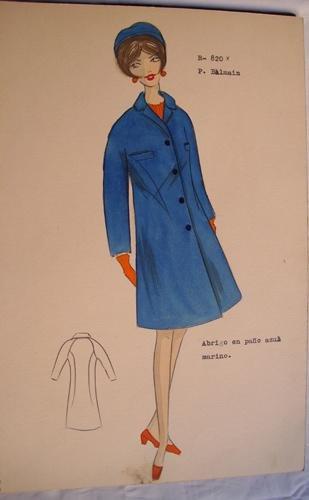 FIGURIN ORIGINAL ACUARELADO - Original watercolor design costume - Diseño P. Balmain : Abrigo en paño azul marino