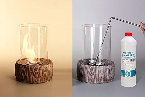 Feuerstelle Stone 2, Tischkamin aus Stein und Glas, Feuerstelle für Bio Ethanol, Tischfeuer, Glasfeuer, Glaskamin