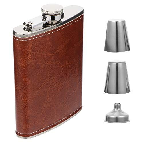 YARNOW Fiaschetta per liquori da 8 once in acciaio inox con imbuto e 2 bicchierini da grappa Soft Touch in pelle Wrap bottiglia da whisky per uomini e donne, regalo ideale (rosso)