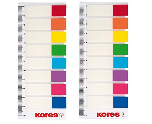 KORES NOTES Pagemarker mit Lineal 12x45mm, 8 Farben transparent, Haftstreifen Notes Index
