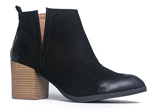 J. Adams Western Slip On Stacked Heel Bootie - Side V-Cut Boot - Distressed Leather Low Heel - Barry
