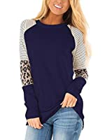 HARHAY Women's Leopard Print Color Block Tunic Round Neck Long Sleeve Shirts Striped Causal Blouses Tops Navy M