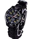 7 en 1 Reloj de pulsera de supervivencia, para hombres y mujeres, reloj digital de deportes al, resistente al agua, relojes de supervivencia con paracord, termómetro, silbato, arrancador de fuego