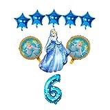 Globo de Papel de Aluminio 9pcs / Set Baby Shower Girl Foil Globos Sofía Princesa Globos Fiesta de cumpleaños Decoraciones para niños Juguetes (Color : Blue-6)