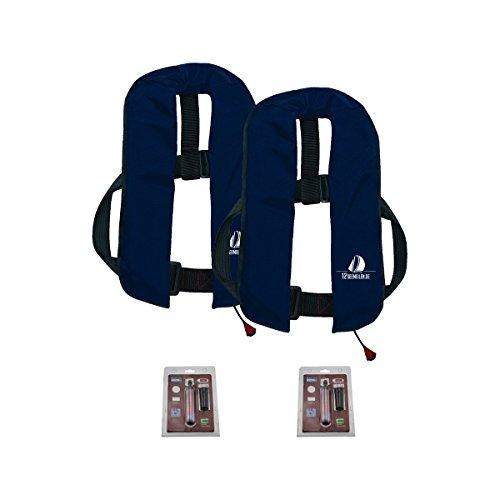 12skipper 2er-Sets Automatik-Rettungswesten 165N/300N ISO UML | versch. Varianten (Marineblau, 165N Classic + 2 Wartungskits)