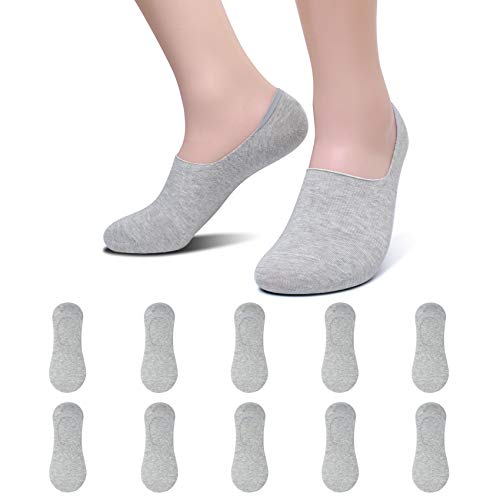 YouShow Sneaker Socken Damen Herren Füßlinge 10 Paar Footies Unsichtbare Kurze No Show Socken Großes Silikonpad Anti Rutsch Grau 39-42