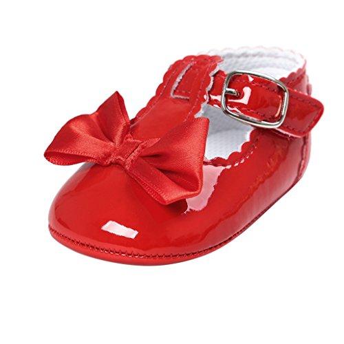 Primeros Zapatos para Caminar,Auxma Zapatos de bebé, Zapatos Antideslizantes del Bowknot de los bebés (11cm(0-6M), Rojo)