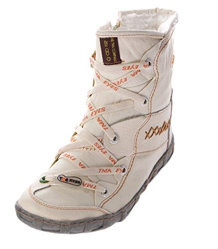 TMA Leder Winter Stiefeletten Damen Knöchel Schuhe gefüttert Weiß Stiefel Knöchelschuhe Gr. 37