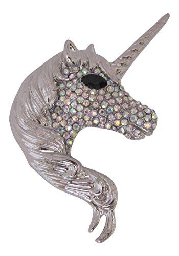 Broche Boutique chapado en plata cristal AB Unicorn broche colgante